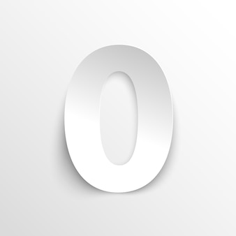 Numer 0 w stylu papieru. ilustracja wektorowa