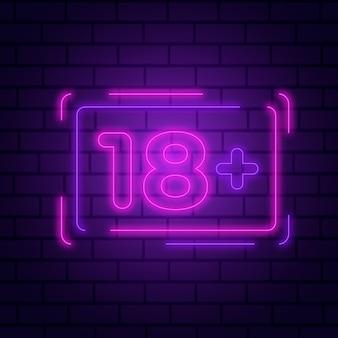 Numer 18+ w kolorze neonu
