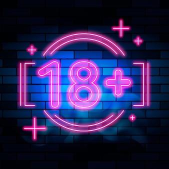 Numer 18+ w neonowym designie