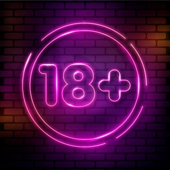 Numer 18+ w różowym neonowym stylu