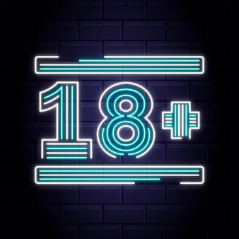 Numer 18+ w stylu neonowym