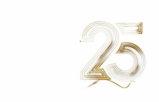 Numer 25 w płaskiej linii sztuki. streszczenie zniżki oferta cenowa. ilustracja wektorowa.