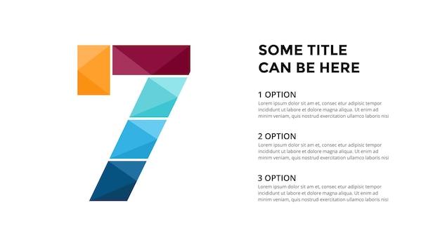 Numer 7 infografika szablon prezentacja slajdów projekt napisów kreatywna czcionka