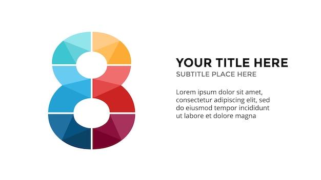 Numer 8 szablon infografiki prezentacja slajdów projekt napisów kreatywna czcionka