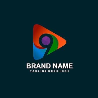 Numer 9 i logo ikony odtwarzania