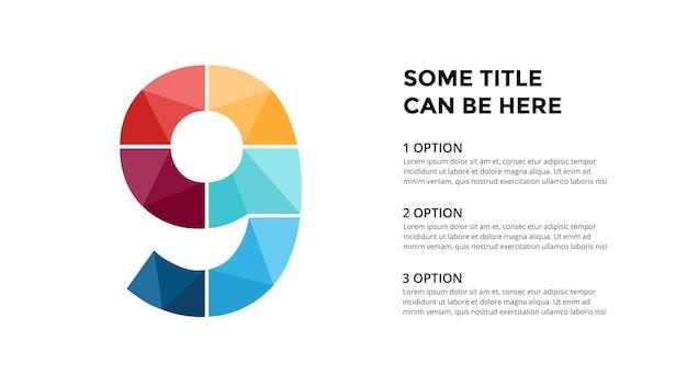 Numer 9 infografika szablon prezentacja slajdów projekt napisów kreatywna czcionka
