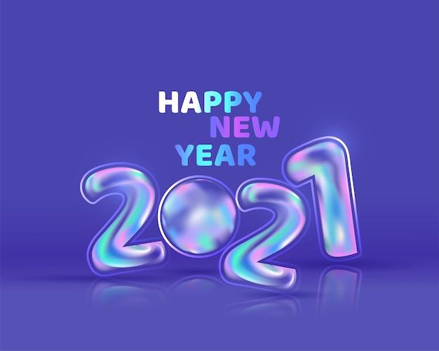 Numer błyszczący balon gradientu na niebieskim tle szczęśliwego nowego roku.