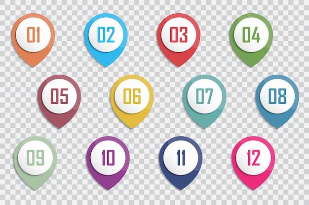 Numer bullet point kolorowe 3d markery 1 do 12 vector