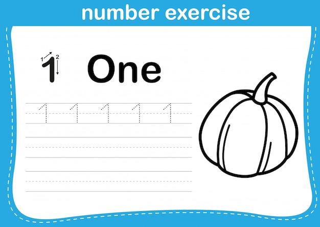 Numer ćwiczenia z kreskówki kolorowanka ilustracja
