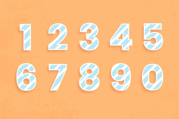 Numer czcionki zestaw ilustracji wzór paska