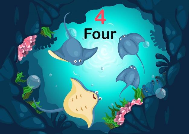 Numer cztery stingray pod wektor morza