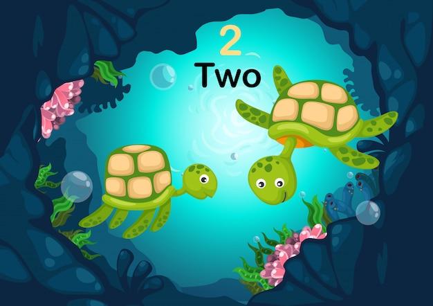 Numer dwa żółw pod wektor morze