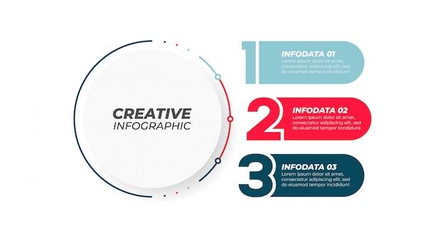 Numer elementu projektu z 3 krokami, opcje. kreatywna koncepcja raportu rocznego, prezentacja. ilustracja.