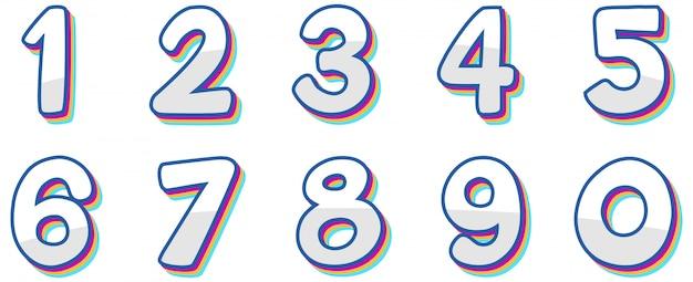 Numer jeden do zera na białym tle