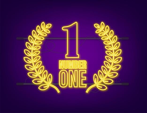 Numer jeden w projektowaniu gier. nagroda wstążka złota ikona numer. osiągnięcie konkursu. ikona neonowa zwycięzcy.