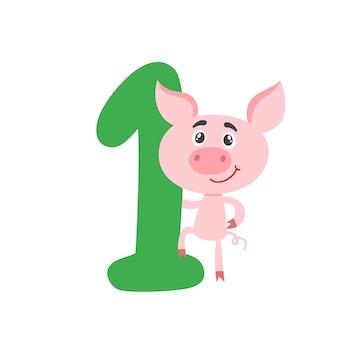 Numer jeden z kreskówka świnia dla dzieci na białym tle. naucz się liczyć ilustracja koncepcyjna i numer rocznicy urodzin używany do plakatu, książki, karty z pozdrowieniami.