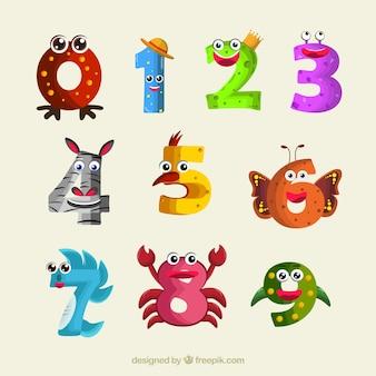 Numer kolekcja z zabawnymi zwierzętami