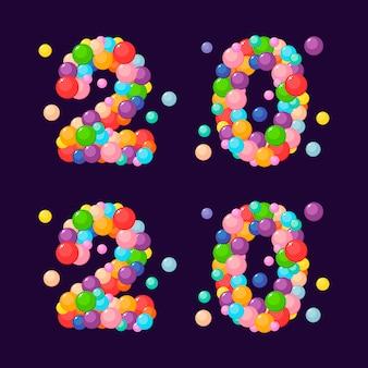 Numer kreskówki 2020 dla dzieci z kolorowych kulek. nowy rok