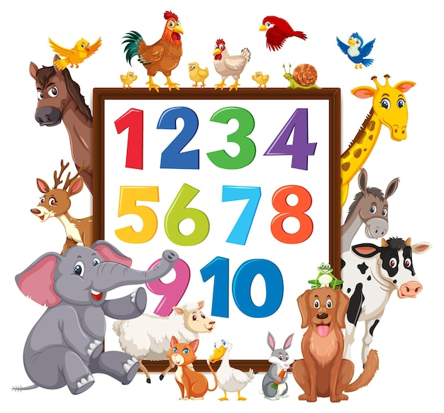 Numer od 0 do 9 na banerze z dzikimi zwierzętami
