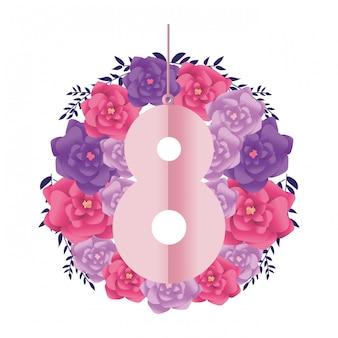 Numer osiem z kwiatami
