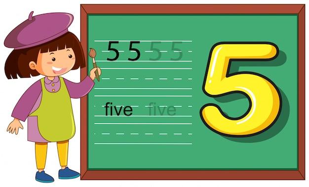 Numer pięć kartek na tablicy