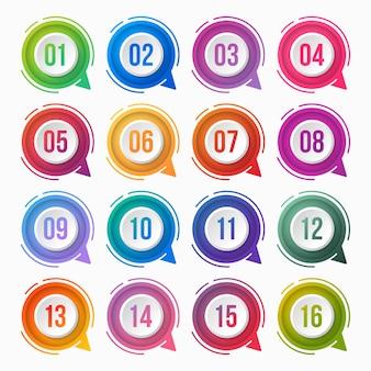 Numer punktora kolorowy gradient z polem tekstowym