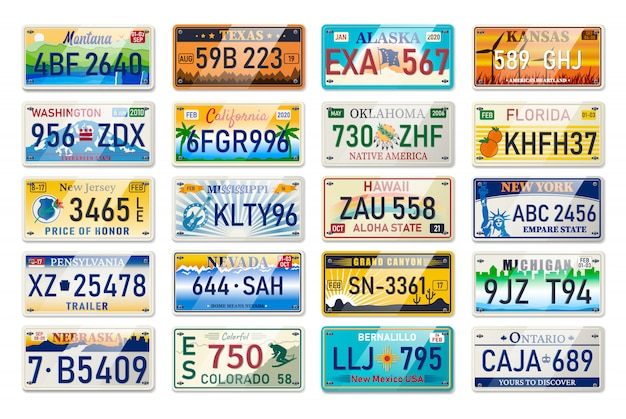 Numer rejestracyjny samochodu i numer rejestracyjny pojazdu w stanach usa. tablice rejestracyjne numery licencji pojazdu