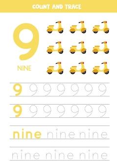 Numer śledzenia 9 i słowo dziewięć. ćwiczenia pisma ręcznego dla dzieci na skuterach.