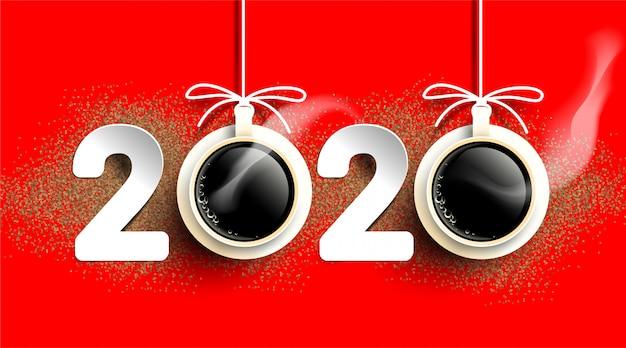 Numer tekstowy ziaren kawy 2020. filiżanka gorącej kawy z proszkiem. prosty