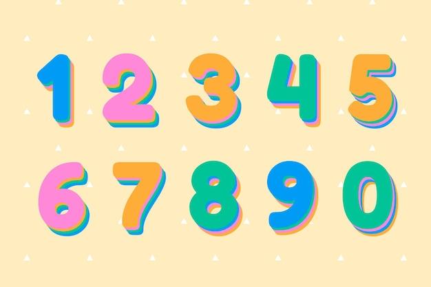 Numer wektor zestaw czcionki 3d