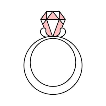 Numer z diamentem. obrączka na propozycję. biżuteria. prosty ślub ikona. doodle ilustracja wektorowa