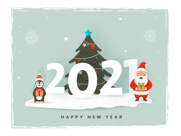 Numer z ozdobnym choinką, pingwinem kreskówkowym i świętym mikołajem trzymającym pudełko z okazji szczęśliwego nowego roku.