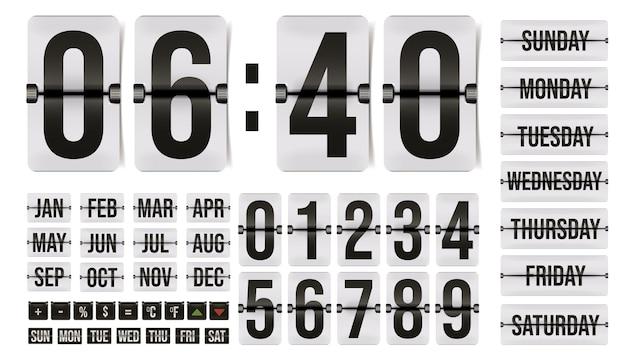 Numer zegara klapki, dzień kalendarza, miesiąc, znak kalkulatora. licznik analogowy, tablica wyników, automatyczny zegarek mechaniczny zegar urządzenia wektor ilustracja na białym tle