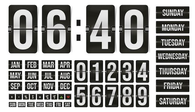 Numer zegara klapki na białym tle