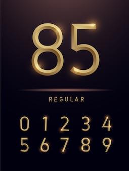 Numery alfabet złoty metaliczny i efekt wzorów