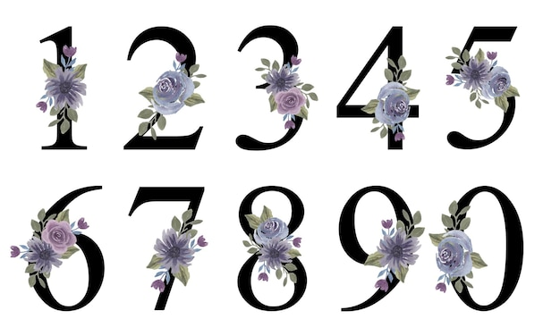 Numery alfabetu wstępny projekt z akwarela fioletowy bukiet kwiatów do dekoracji zaproszenia