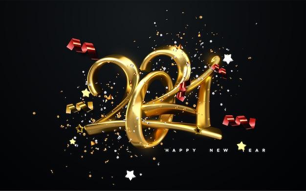 Numery biżuterii 2021. szczęśliwego nowego roku 2021. złote znaki kaligraficzne, wstążki, gwiazdy i konfetti.