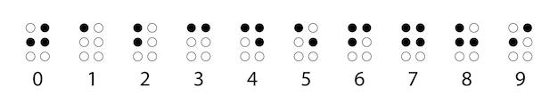 Numery braille'a z rzędu. dotykowy system pisania używany przez osoby niewidome lub niedowidzące. ilustracja wektorowa w czerni i bieli.
