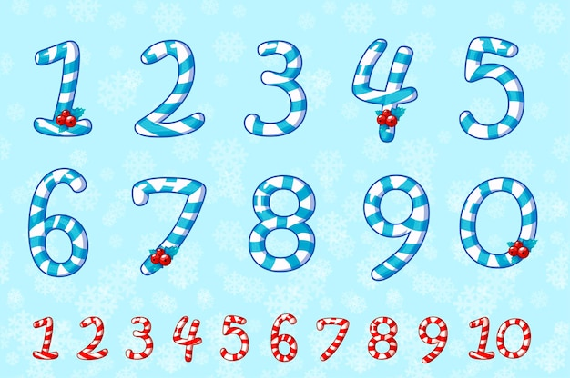 Numery cukierków ustawione na niebiesko. słodka postać lizaka. numery na wydarzenie, promo, logo, baner, monogram i plakat. każda liczba na osobnych warstwach.
