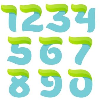 Numery ekologii ustawione z zielonym liściem.