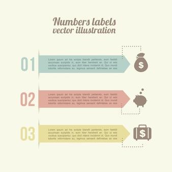 Numery etykiet na białym tle ilustracji wektorowych