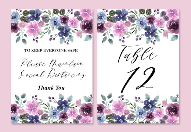 Numery na stół weselny z ozdobami w akwarela niebieskie i fioletowe kwiaty