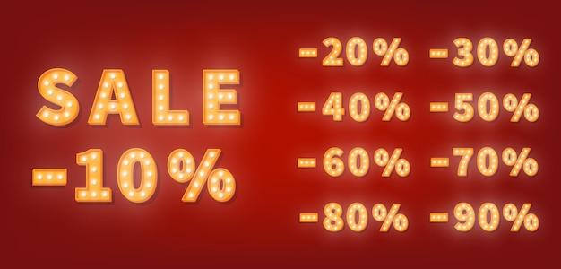 Numery rabatowe na sprzedaż namiotów, zestaw numerów złotych żarówek. szablon ceny sprzedaży promocyjnej