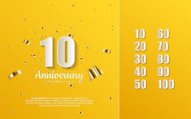 Numery rocznicowe białe na żółtym.