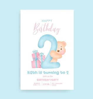 Numery urodzinowe z uroczym misiem na kartkę z zaproszeniem na przyjęcie urodzinowe.
