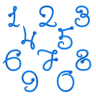 Numery ustawiają logo utworzone za pomocą kabla wtykowego.