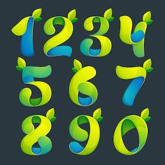 Numery ustawiają logo z zielonymi liśćmi. projekt banera, prezentacji, strony internetowej, karty, etykiet lub plakatów.