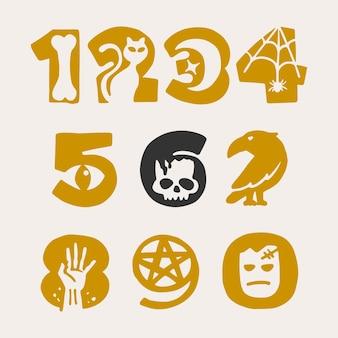 Numery ustawione dla projektu halloween. ręcznie rysowana czcionka ze słynnym wzorem metafor.