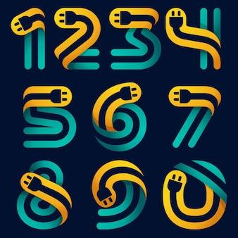 Numery ustawione z kablem wtykowym w środku. wektorowy krój pisma dla tożsamości samochodu elektrycznego, nagłówków technologicznych, plakatów z ładowaniem itp.