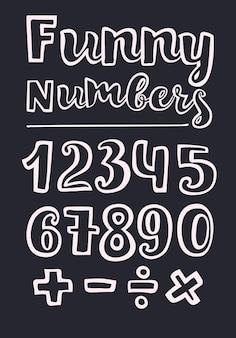 Numery w stylu odręcznym ilustracji wektorowych